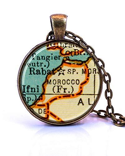 Heng yuan tian cheng - Collar con colgante de mapa de Marruecos, creado a partir de un mapa de 1937. Joyería de mapa, collar de mapa, colgante de mapa, joyería personalizada, joyería personalizada
