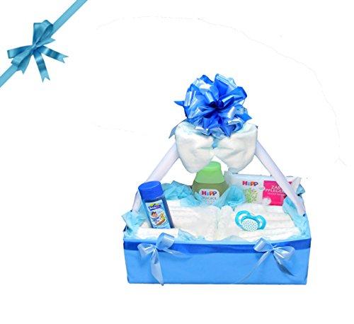 Windeltorte Windelkörbchen Baby Geschenkset zur Geburt & Taufe (Junge)
