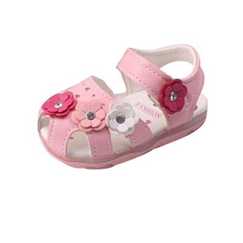 FNKDOR Baby Mädchen Beleuchtete Sandalen Blumen Babyschuhe LED Licht Schuhe Leuchtschuhe(Rosa,Fußlänge bis 12 cm)