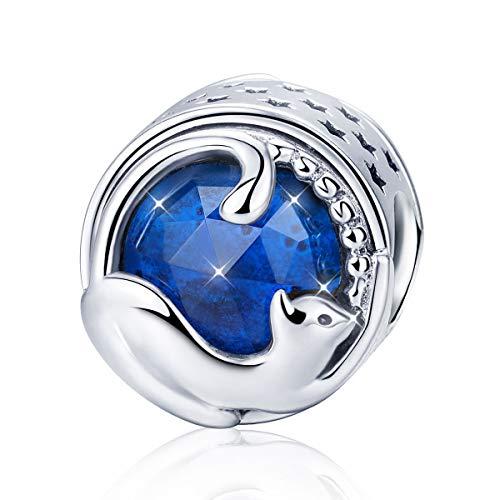 Ciondolo di gatto compatibile con braccialetti e collane Pandora,in argento Sterling 925 charm con pietra portafortuna blu