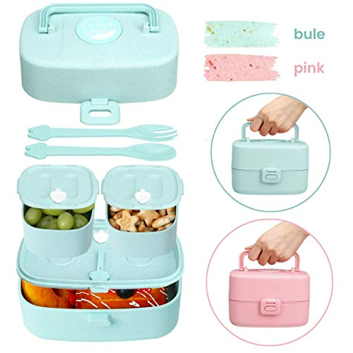 Godmorn Lunchbox für Kinder, Bento Box mit 3 fächern, Brotdose mit Griff - Besteck Aus Weizenstroh Reisfasern, BPA-Frei, Nachhaltig, Spülmaschinenfest, Mikrowellenfest (Blau)