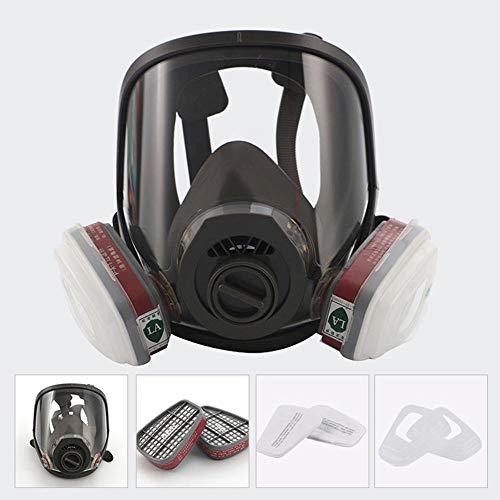 Hamkaw Máscara de Cara Completa, máscara de Pintura a Gas, máscara de pesticidas a Prueba de Polvo, Doble Filtro de Aire, protección de Ojos, protección respiratoria, respirador de Vapor orgánico