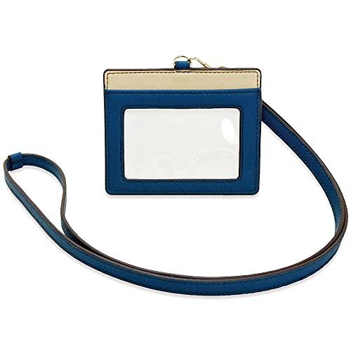 idカードホルダー カードホルダー idケース 革 2枚 レザー ネックストラップ 社員証 おしゃれ 横 首かけ ネック レディース かわいい (ブルー)