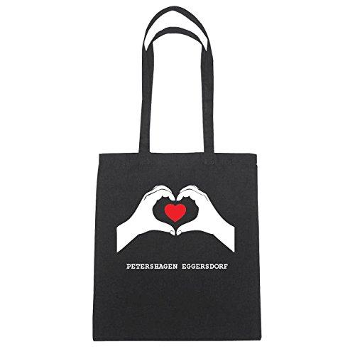 JOllify PETERSHAGEN EGGERSDORF Baumwolltasche Tasche Beutel B1980black - Farbe: schwarz: Hände Herz
