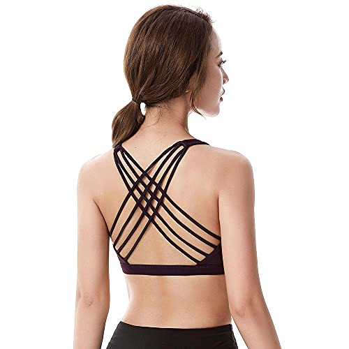 Sujetador Deportivo Fitness para Mujer Push Up Solid Cross Back Yoga Running Gym Training Workout Femme Ropa Interior Acolchada Crop Tops Mujer