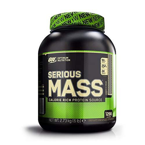 Optimum Nutrition Serious Mass, Mass Gainer Whey, Proteines Musculation Prise de Masse avec Vitamines, Creatine et Glutamine, Cookies & Crème, 8 Portions, 2.73kg, l'Emballage Peut Varier