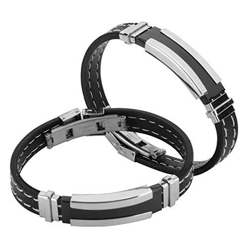 2pcs Armband Edelstahl Silikon, Etiketten, Register & Stempel Klebemarkierungen Armband Classic Fashion Charm Verstellbares Armband Schmuck Zubehör Schwarz Geschenk für Männer Männlich