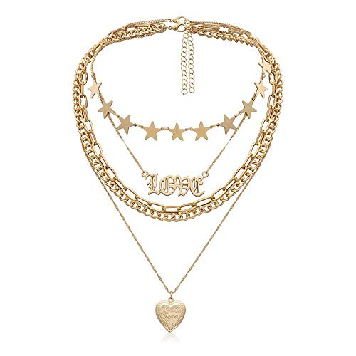 TWWTHX Collar gótico Punk Gothic Punk Sweet Love Heart Gargantilla Collar Declaración Steampunk Layered Star Gold Color Big Chunky Chain Collar Mujeres Jewelry-E.