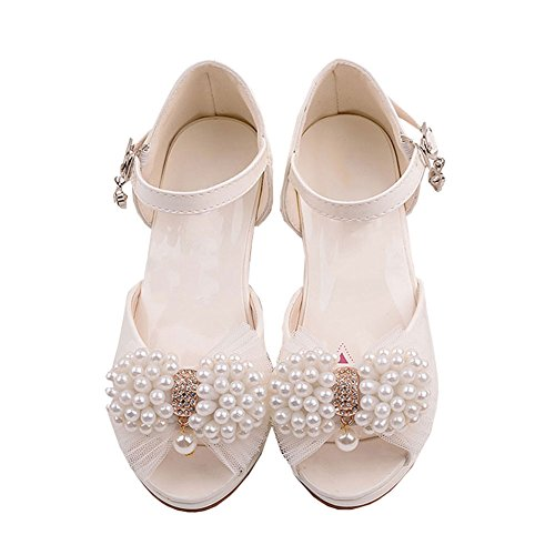 LSERVER Mädchen High Heels Kinder Sandalen Prinzessin Schuhe Weiß Tanzschuhe, Weiß, 36