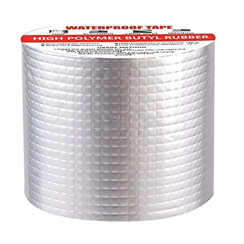 RobustMend waterdichte aluminium tape, professionele super waterdichte tape, butylrubber tape, permanente lekvrije pleister voor alle weersomstandigheden voor daklekkage (6 inch x 16 feet)