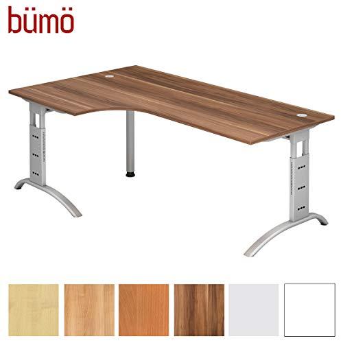 bümö® Schreibtisch höhenverstellbar | Büroschreibtisch Profiqualität | Bürotisch in 6 Dekoren & 9 Längen verfügbar (Zwetschge, Eckform: 200x120 cm)