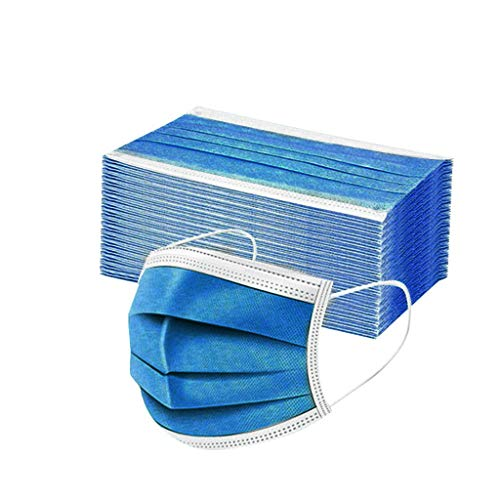 50 Stück Einmal-Mundschutz Mundbedeckung Erwachsene 3-lagig Atmungsaktiv Mund und Nasenschutz Bedeckung Multifunktionstuch Halstuch (100pcs, Dunkelblau)