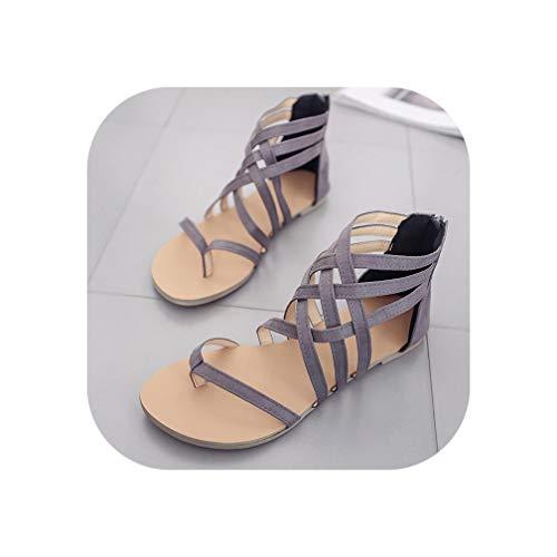 Women Sandals Rome Cross Tied Zip Flat Sandals Clip Toe Footwear Casual Beach Shoes,Grey,10.5