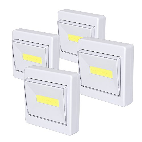 Wardrobe Light, Super Bright, Battery Operated, Stick Anywhere, 200 LM Cob Closet Lights, Ideal for Cupboard, Shed, Attic, Basements (4 Packs)