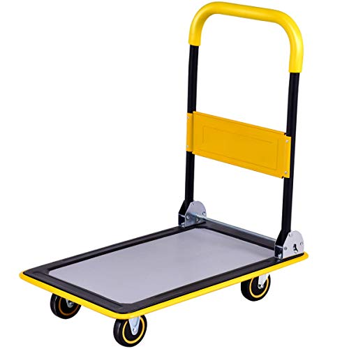 Goplus Folding Platform Cart, 330LBS Rolling Flatbed Cart Hand Platform Truck Push Dolly for Loading, Yellow