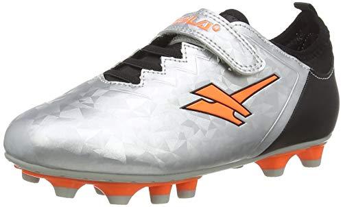 Gola Alpha Mld Velcro, Scarpe da Calcio Bambino, Argento (Silver/Blk/Orange JB), 25 EU