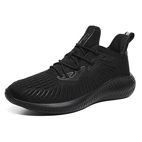FLOWUNDER para Hombre de los Zapatos Corrientes, Corta No-Slip Fitness Gym Formadores Jogging Ligera Cruz Entrenamiento Sport Zapatilla de Deporte,Negro,43