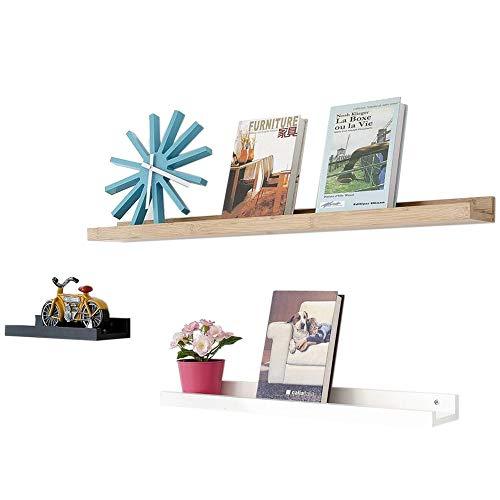 JCNFA Planken Drijvende Planken Bamboe Wandplank U Vorm Drijvende Planken Display Boek Plank Set Van 3 Foto's Awards Organizer Combination Zwart