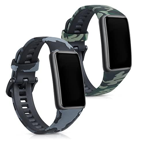 kwmobile 2X Cinturino Silicone TPU Compatibile con Huawei Band 6/6 PRO - Fascia Gommata Smart Watch - Camouflage Nero/Verde Chiaro/Verde Scuro