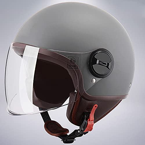 Casco de Motocicleta Abierto, ECE Homologado, Casco Moto Jet con Visera, Adultos Unisex Retro Medio Casco, para ciclomotores Scooters cruceros Cascos de Turismo (55~60CM)