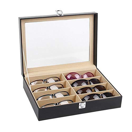 WMC Sunglasses Case 8 Slot Eyeglass Sunglass Storage Box Leatherette for Glasses Storing Display Holder Sunglasses Organizer Black
