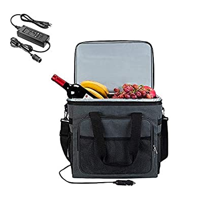 Electric Car Cooler 25L with AC to DC Converter 12V DC- Collapsible Portable Thermoelectric Refrigerator Keep Hot/Cold/Fresh Folding Waterproof Insulation Soft-Sided Bag with Large Capacity for Travel