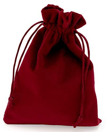100% Mosel Geschenkbeutel Samt, 12 Stück in Bordeauxrot (12 x 17 cm), kleine Säckchen aus Samt, edle Geschenkverpackung für Weihnachten & Hochzeiten, zum Basteln eines Adventskalenders