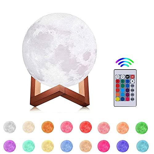 Lámpara de Luna 3D, 20CM16 Colores USB Cambio de 3D Lámpara de Control de Luz de Luna con Soporte de Madera Carga USB para la Decoración, del Dormitorio,Regalo para Navidad