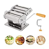 MorNon Pasta Machine, Stainless Steel Manual Pasta Maker Roller Machines with Adjustable Thickness Settings for Homemade Noodle Ravioli Spaghetti Includes Dough Cutter Hand Crank - Silver