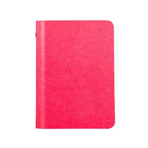 WPBOY Cuaderno portátil de cuero mini diario simple hojas sueltas bolsillo cuaderno es perfecto para la oficina y el hogar suministros escolares (color rosa rojo (brillante))