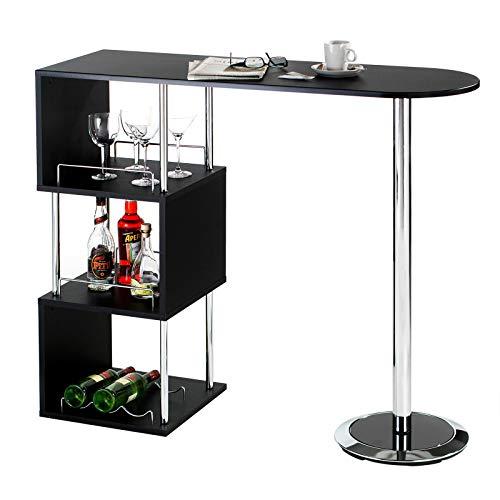 IDIMEX Table Haute de Bar VIGANDO Mange-Debout comptoir avec 3 étagères Dont 1 avec Porte-Bouteilles, Structure en métal chromé et Plateau en MDF décor Noir Mat