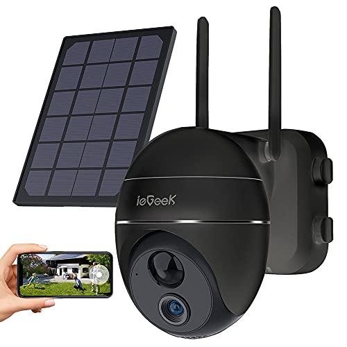 ieGeek Überwachungskamera Aussen Akku 15000mAh 355°/120°Schwenkbar mit Solarpanel,1080P Kabellose Outdoor WLAN IP Kamera mit PIR Bewegungsmelder,Pan Tilt,4DBi Wireless Antenna,2-Wege-Audio,2,4GHz WiFi