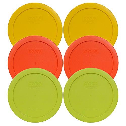Pyrex 7201-pc ronde 4 de tasse de conservation couvercles pour bols en verre (2-butter Jaune, 2-pumpkin Orange, 2-edamame Vert)