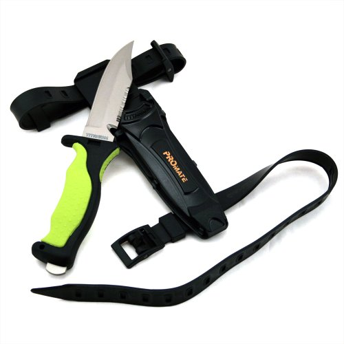 Promate Sharp Tip Titanium Dive Knife - KF593, Yellow/Black, Sharp Tip