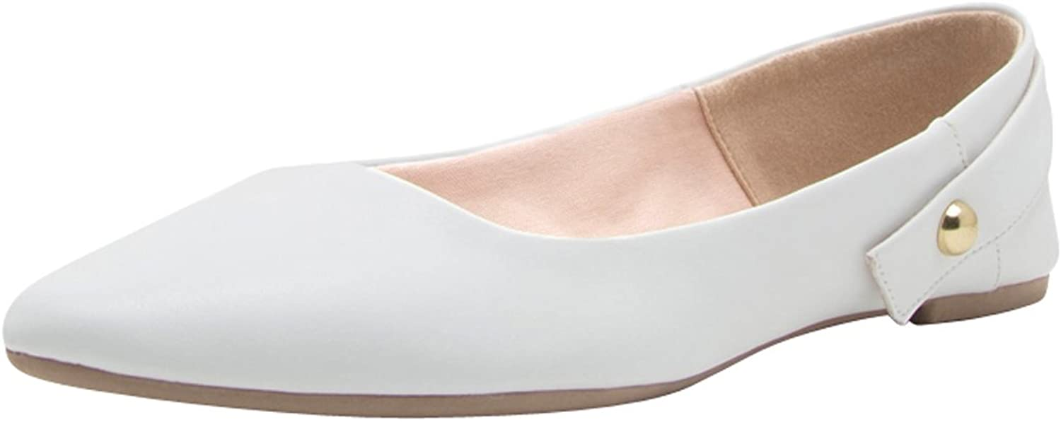 Cambridge Select Women's Closed Pointed Toe Studded Heel Strap Slip-on Ballet Flat