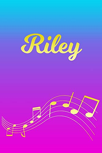 Riley: Sheet Music Note Manuscript Notebook Paper – Pink Blue Gold Personalized Letter R Initial Custom First Name Cover – Musician Composer … Notepad Notation Guide – Compose Write Songs