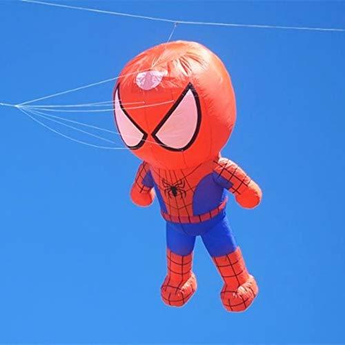 XiaoOu Línea Cometa para Gran Cometa Suave Mosca Spiderman Kite windsock Big Kite Reel Albatross Deporte al Aire Libre para Adultos Pulpo, Spiderman Superman