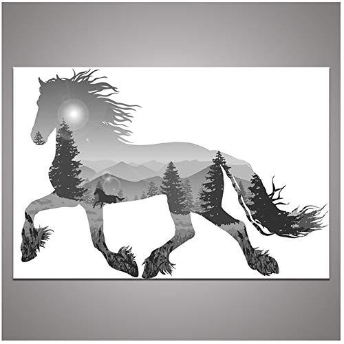 chtshjdtb Moderne Grau Laufen Leinwanddruck Malerei Abstrakte Tier Silhouette Wald Wandkunst Bild Für Wohnzimmer Decor-50x75 cm Kein Rahmen