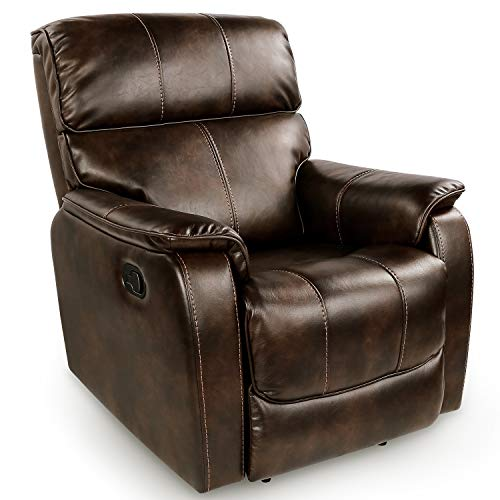 OT QOMOTOP Fabric Recliner Chair Sofa, Rocker Recliner Chair Manual Control, Single Rocking Reclining Chair Ergonomic Lounge Chair for Living Room/Home Theater (Brown)