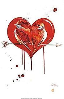 Love Birds by Lora Zombie Fantasy Odd Weird Romance Animal Heart Arrow Print Poster 14x20