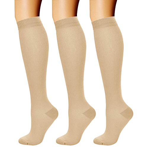 CHARMKING Compression Socks for Women & Men Circulation (3 Pairs) 15-20 mmHg is Best Athletic for Running, Flight Travel, Support, Cycling, Pregnant - Boost Performance, Durability (S/M, Nude)