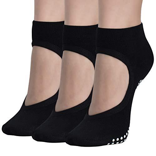 Yoga-Socken für Frauen, rutschfeste Stangen-Socken, rutschfest, für Ballett, Pilates, Tanzen, Barfuß-Socken - Grau - Einheitsgröße