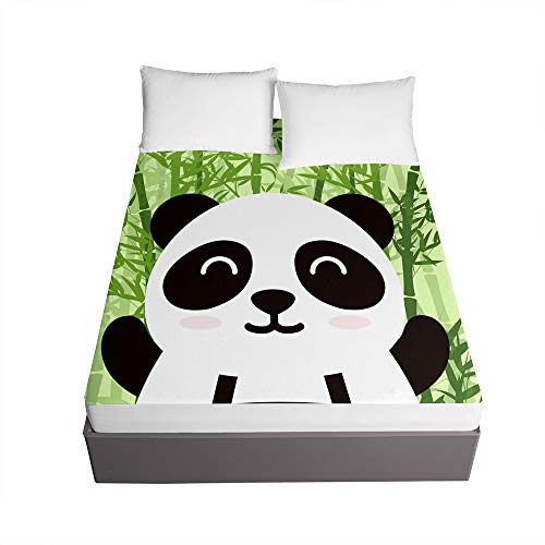 Chickwin Cartoon Panda Printed Fitted Sheets for Single Double King Bed, 3D Bedding Sheets Deep Pocket 30cm - Soft Microfibre Easy Care Shrinkage Fade Resistant (Green Bamboo,140x200x30cm)