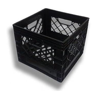 Plastic Milk Crates, 16qt (4-1 Gallon), 3 Pack, Black