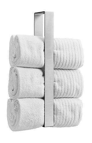 WEISSENSTEIN Estante toallero acero inoxidable baño 45cm | Portatoallas Pared sin Taladro | Soporte para guardar Toallas baño | Porta toallas vertical