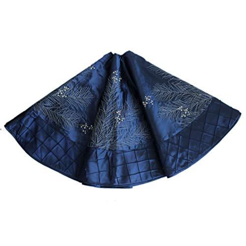 Gireshome Blue Faux Silk Deluxe White Berry Embroidered Center, Handcraft Pintuck Border Christmas Tree Skirt -36inch / 91CM