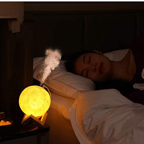 Purificatore d'aria con luce notturna e luna, umidificatore per aromaterapia, diffusore di oli essenziali, diffusore di aromi per yoga, spa, ufficio, camera da letto (A).