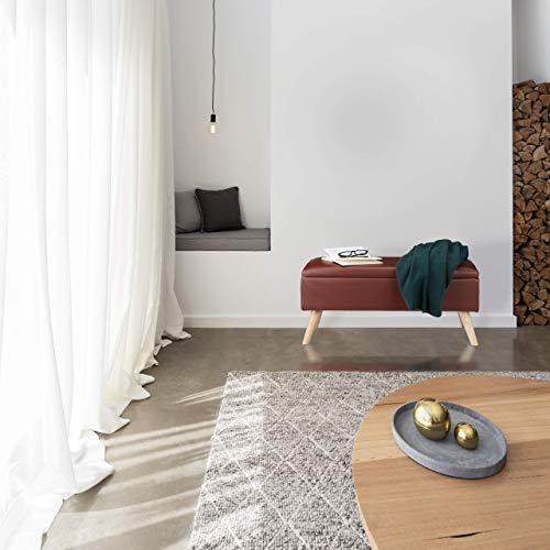 Relaxdays Sitzbank mit Stauraum, 40 L, gepolstert, Holzbeine, Truhenbank Kunstleder, HxBxT: 40 x 80 x 39,5 cm, braun, Größe - 2