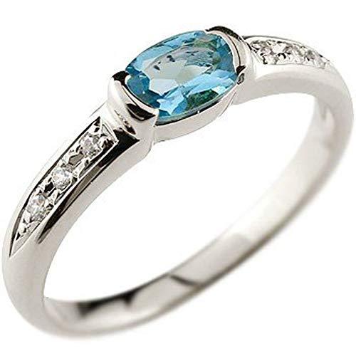 [アトラス]Atrus リング レディース 18金 ホワイトゴールドk18 ブルートパーズ ダイヤモンド 指輪 11月誕生石 ストレート 宝石 ピンキーリング 16号