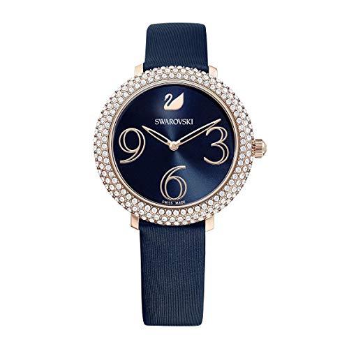 Swarovski Reloj Crystal Frost, correa de seda azul, revestimiento PVD en tono oro rosa, para mujer